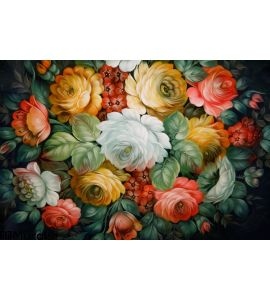 Black Tray Painted Floral Patterns Wall Mural