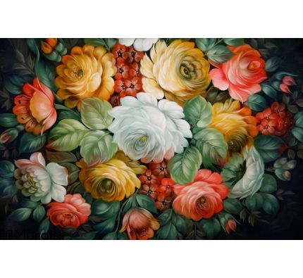 Black Tray Painted Floral Patterns Wall Mural Wall Tapestry tapestries