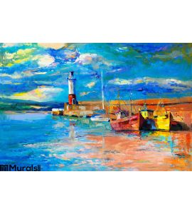Lighthouse Boats Wall Mural