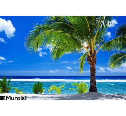 Single Palm Tree Overlooking Amazing Lagoon Wall Mural Wall Tapestry tapestries