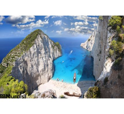 Famous Navagio Beach, Zakynthos, Greece. Caribbean, paradise. Wall Mural Wall Tapestry tapestries