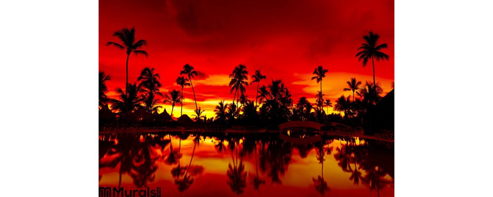 Panorama Orange and red sunset Wall Mural