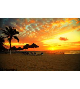 Sunset Scene Tropical Beach Resort Wall Mural