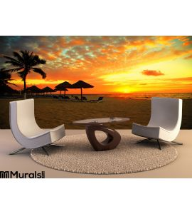 Sunset Scene Tropical Beach Resort Wall Mural Wall Tapestry tapestries