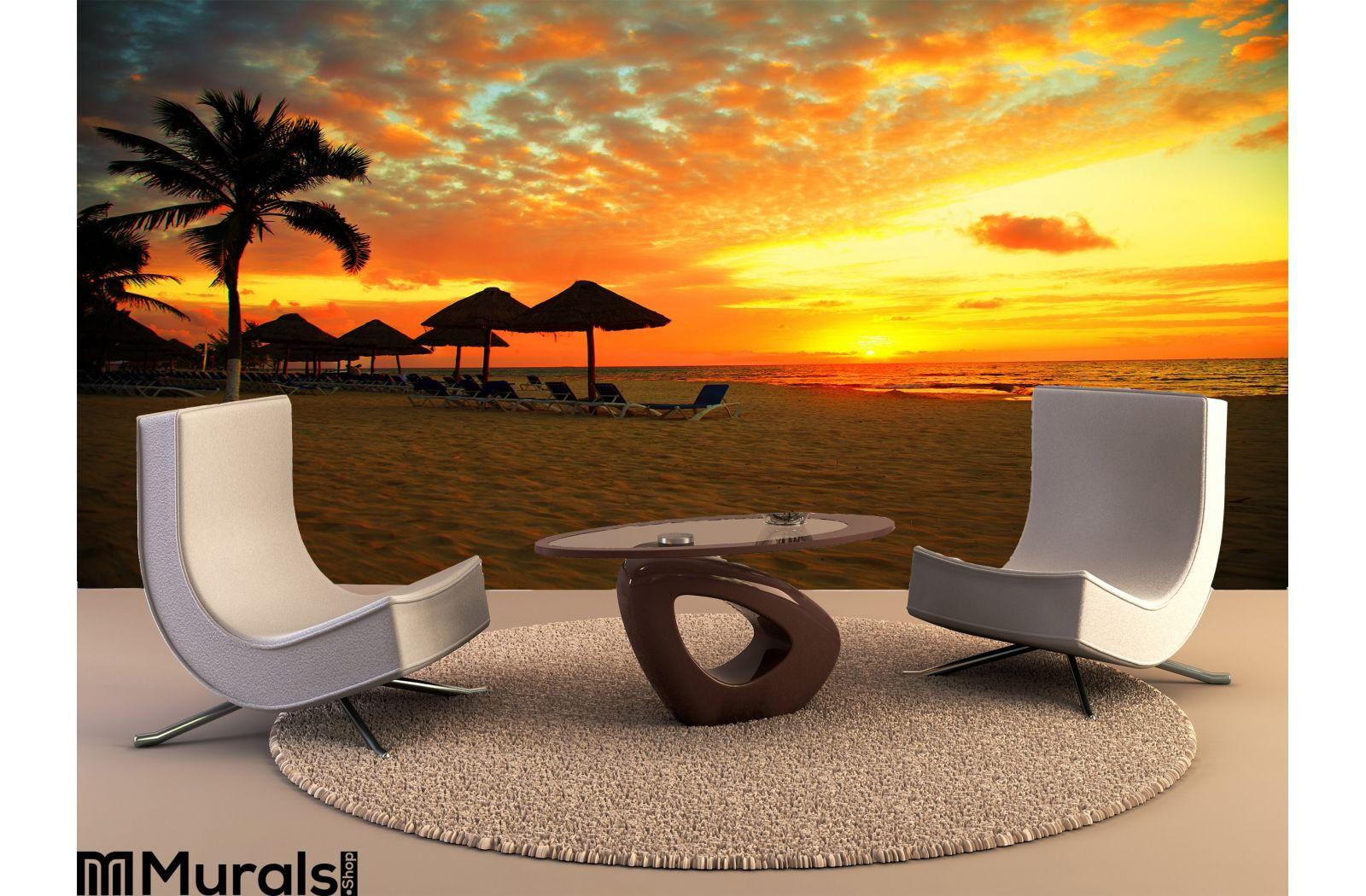 Sunset Scene Tropical Beach Resort Wall Mural