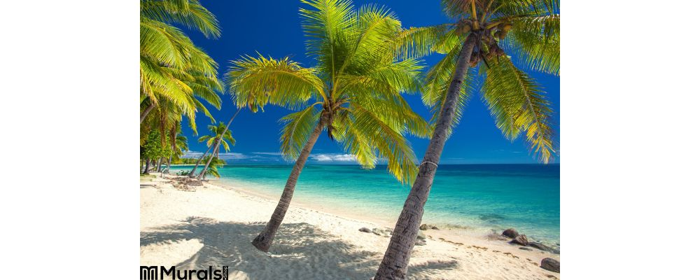 Deserted Beach Coconut Palm Trees Fiji Wall Mural