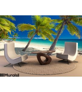 Deserted Beach Coconut Palm Trees Fiji Wall Mural Wall Tapestry tapestries