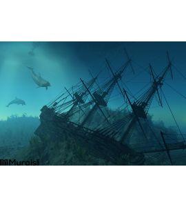Shipwreck Beneath Sea Wall Mural Wall Tapestry tapestries