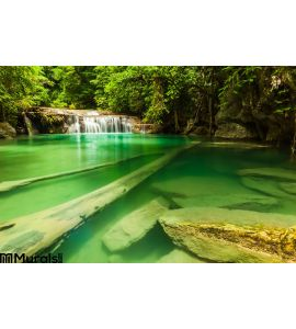 Erawan Waterfall Wall Mural Wall Tapestry tapestries