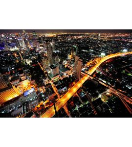 Thailand Bangkok Night City Sky View Wall Mural
