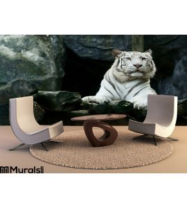 White Tiger Wall Mural Wall Tapestry tapestries