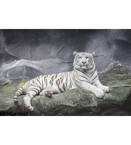 WHITE TIGER on a rock Wall Mural