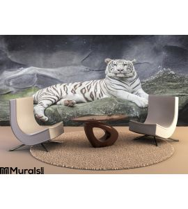 WHITE TIGER on a rock Wall Mural Wall Tapestry tapestries