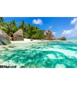 Anse Source d Argent - Beach on island La Digue in Seychelles. Destinations, sand. Wall Mural Wall Tapestry tapestries