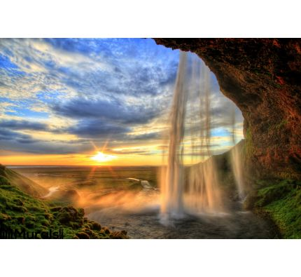 Seljalandfoss Waterfall Sunset Hdr Iceland Wall Mural Wall Tapestry tapestries