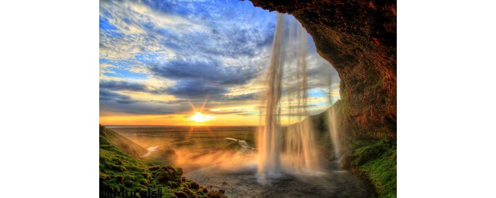 Seljalandfoss Waterfall Sunset Hdr Iceland Wall Mural