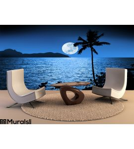 Ocean Night Moon Sky Tropical Wall Mural Wall Tapestry tapestries