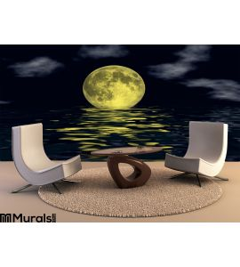 Moon Over Water Wall Mural Wall Tapestry tapestries
