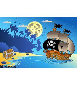 Night Seascape Pirate Ship 1 Wall Mural