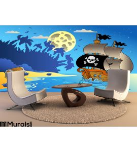 Night Seascape Pirate Ship 1 Wall Mural Wall Tapestry tapestries