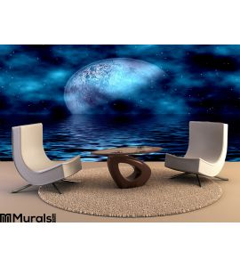 Blue Moon Water Wall Mural Wall Tapestry tapestries