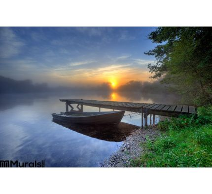 Boat in the evening Wall Mural Wall Tapestry tapestries