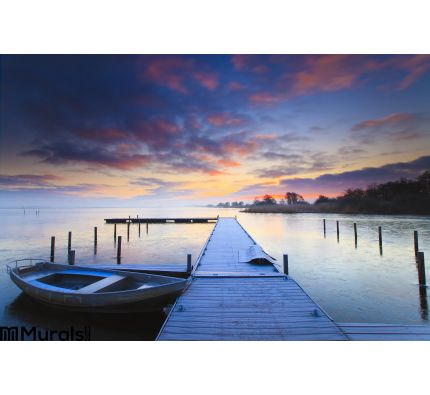Peaceful Sunrise Dramatic Sky Boats Wall Mural Wall Tapestry tapestries