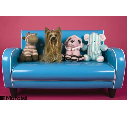Dog Retro Blue Couch Wall Mural Wall Tapestry tapestries