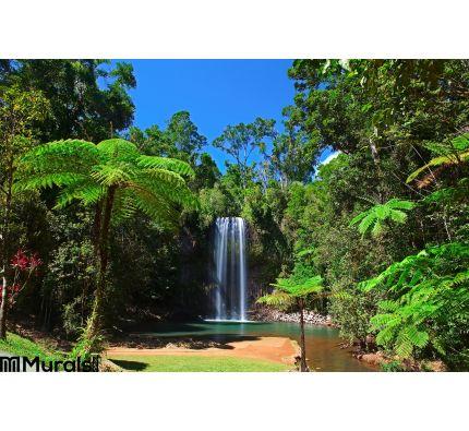 Tree Fern Waterfall Tropical Rain Forest Paradise Wall Mural Wall art Wall decor