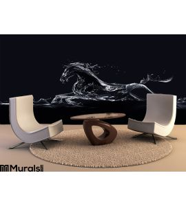 Black Water Horse Wall Mural Wall art Wall decor