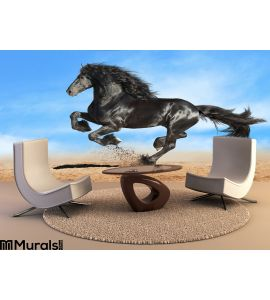 Black Friesian Horse Runs Gallop Wall Mural Wall art Wall decor