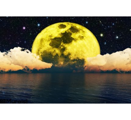 Moonlit Night.Elements Of This Image Furnished By Nasa. Wall Mural Wall art Wall decor