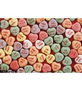 Candy Hearts Red Wall Mural Wall art Wall decor