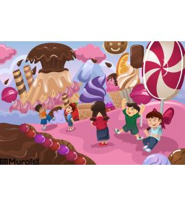 Kids Playing in a Dessert Land Wall Mural