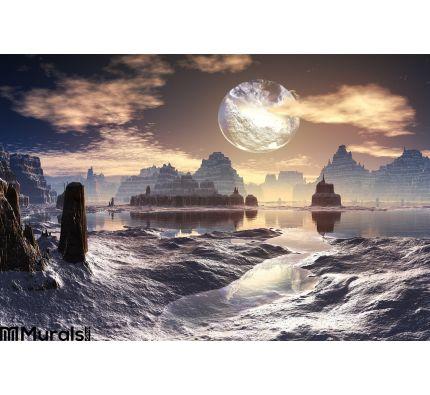 Winter Alien Landscape Damaged Moon Orbit Wall Mural Wall art Wall decor