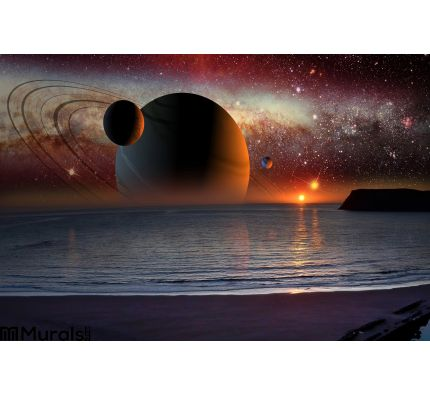 Science Fiction Landscape Wall Mural Wall Tapestry tapestries