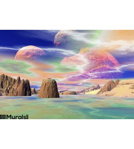 3D rendered fantasy alien planet. Rocks and sky. Mountain, picture. Wall Mural