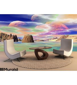 3D rendered fantasy alien planet. Rocks and sky. Mountain, picture. Wall Mural Wall Tapestry tapestries