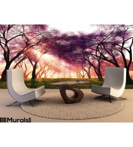Cherry Blossoms Japanese Garden 3D render Wall Mural Wall Tapestry tapestries