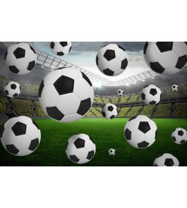 Black and white footballs Wall Mural