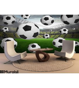 Black and white footballs Wall Mural Wall Tapestry tapestries
