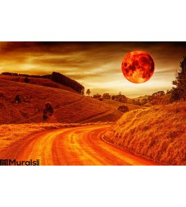 Blood Red Moon Wall Mural