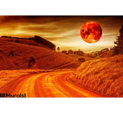 Blood Red Moon Wall Mural Wall Tapestry tapestries