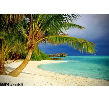 Tropical Beach Palms Wall Mural Wall Tapestry tapestries