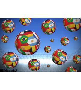 Footballs in international flags Wall Mural