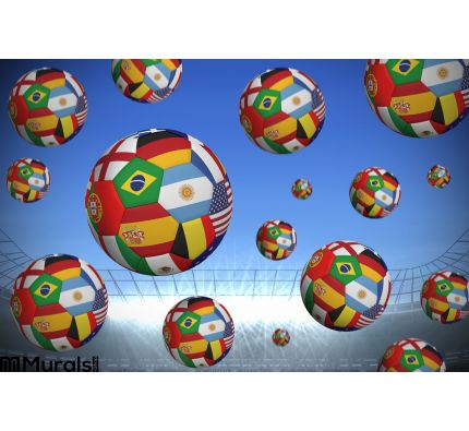 Footballs in international flags Wall Mural Wall Tapestry tapestries