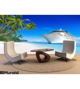 3D Cruise Ship Wall Mural Wall Tapestry tapestries