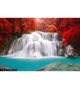 Waterfall Deep Rain Forest Jungle Huay Mae Kamin Waterfall I Wall Mural