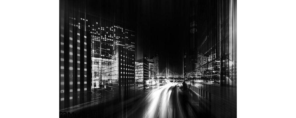 Abstract Black White Photo City Wall Mural