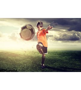 Talented Soccer Child Wall Mural Wall Tapestry tapestries
